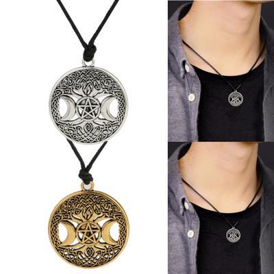 Glowing Pentagram Cabochon Glass Tibet Silver Chain Pendant Necklace