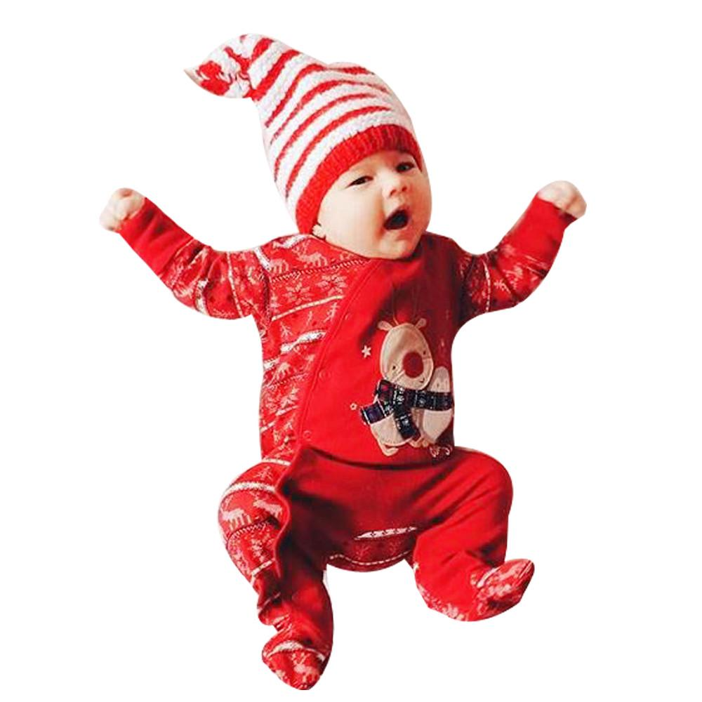 Christmas Newborn Infant Baby Boys Girls Deer Romper Jumpsuit Outfits Clothes