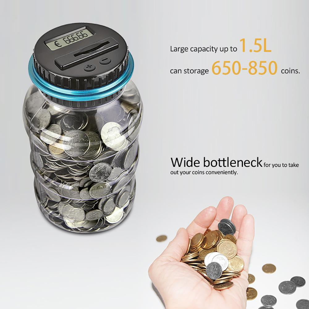 Money Saving Box Jar Bank with LCD Battery Coin Counter for Kid Adult Boy Girl As Unique Gift 1.5L Coin Piggy Saving Bank Digital Coin Bank Jar Coin Counter Storage