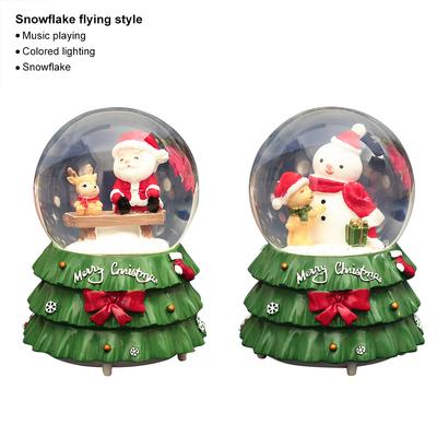 Snow Style//Rotation Style Christmas Snow Globe Music Box Lighted Rotating Music Box with Santa Claus for Children Kids Students