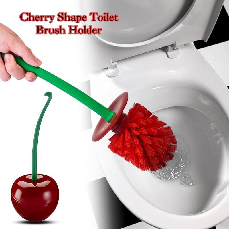 Lovely Cherry-Shape Bathroom Cleaning Toliet Brush Holder Standing Set