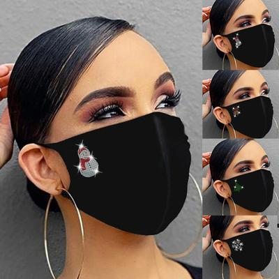 Bilibili New Women Reusable Outdoor Christmas Drill Breathable Fashion Cotton Face Cover 1PC