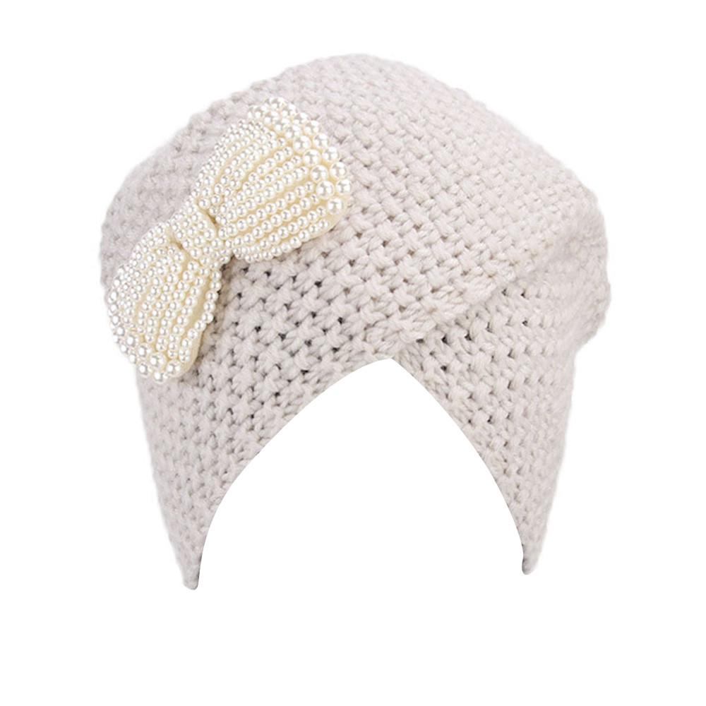 f1b38c318 Cap aika women ladies bow winter knitted hat turban brim hat pile cap