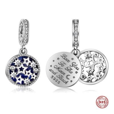 JIAYIQI 925 Sterling Silver Beads Starry Sky Charms Fit Charm DIY Bracelet Necklace For Women Girls Trendy Jewelry Making Gift Blue