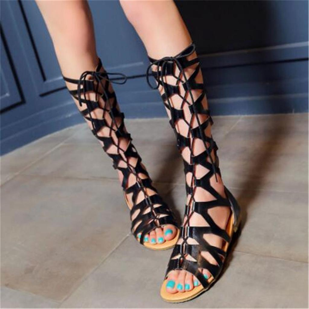 Details about  /Womens Summer Gladiator Lace Up Knee High Boots Shoes Rome Sandals Block Heels