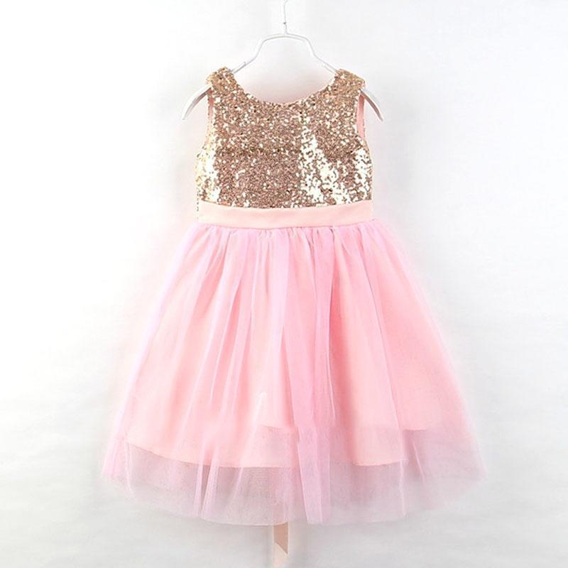 Niña sin mangas lentejuelas princesa vestido niños Bowknot malla de ...