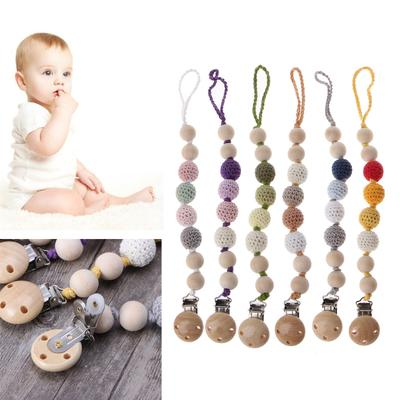 Baby Grey Wooden Beaded Tool for Pacifier Holder Clip Nipple Teether Dummy Strap