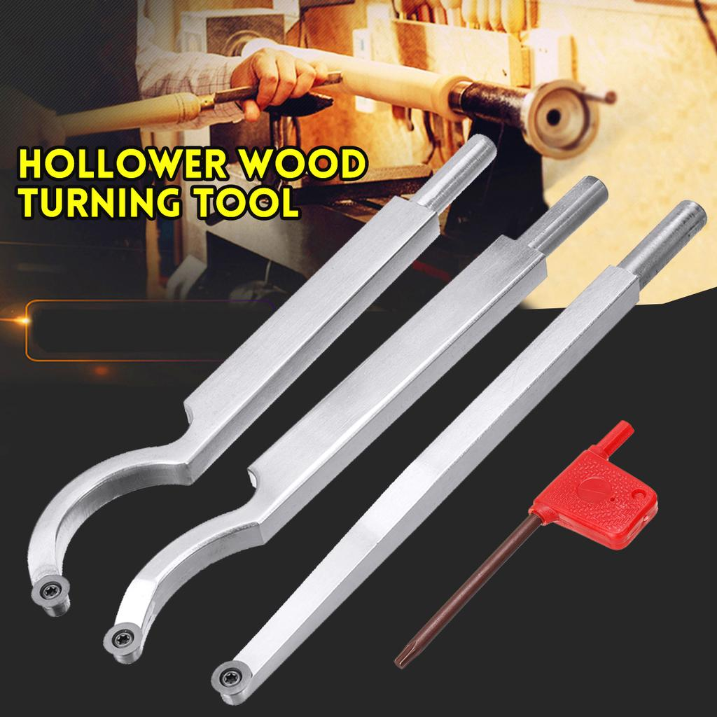 Straight Hollower Wood Turning Tool Hollowing Cutting Lathe Tool with Wood Carbide Inserts