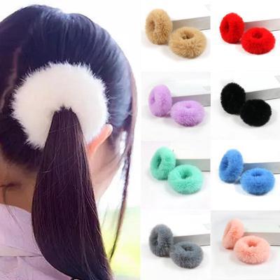 2PCS Cute Fluffy Faux Fur Pompom Furry Scrunchie Elastic Hair Ring Rope Band Tie