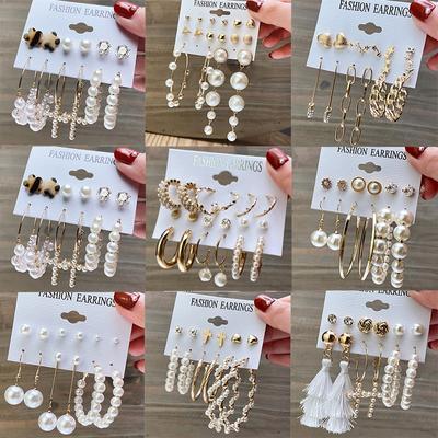 Fashion Pearl Hoop Earrings Set for Women Geometirc Gold Metal Circle Hoop Earrings Brincos 2021 Trend Jewelry Gift