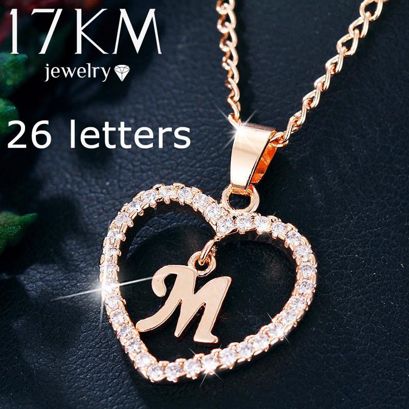 Мода романтический 26 письмо Хрустальное сердце кулон ожерелье горный хрусталь серебристый цвет золота ювелирные изделия Подарки фото