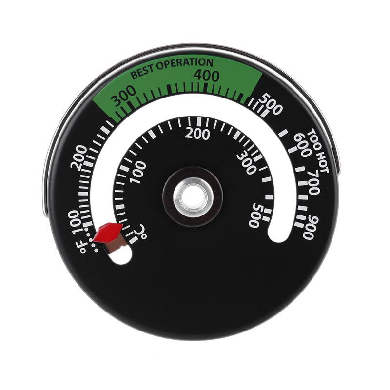 2Pcs Magnetic Thermometer Fireplace Oven Temperature Meter Kitchen Temp Gauge