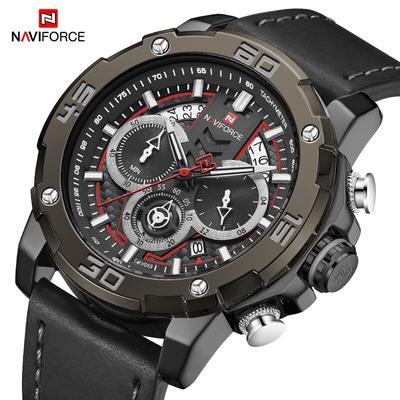 NAVIFORCE Quartz Watch Men Clock Waterproof Luxury Sport Fashion Mens Watches Chronograph Leather New Wrist Watch