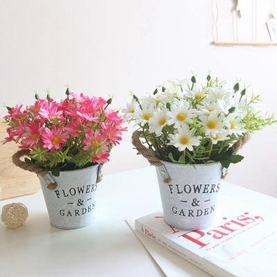 40pcs/bucket  Plastic Small Daisy Iron Bucket Simulation Flower Bonsai