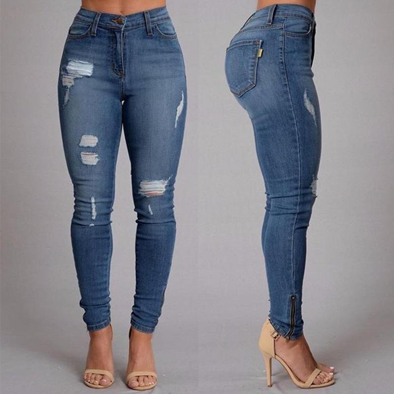 gran variedad de estilos tienda mejor mayorista Pantalones rasgados femme casual agujeros lavados novio mujer regular largo  rasgado pantalones de mezclilla salvaje