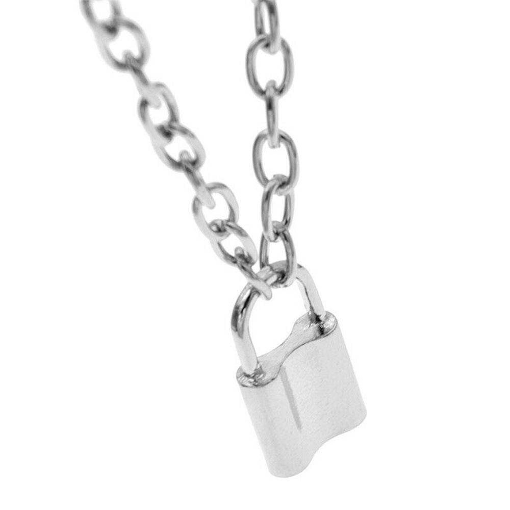 Creative Lock Shape Necklace Pendant Padlock Sweater Long Chain Charm Jewelry