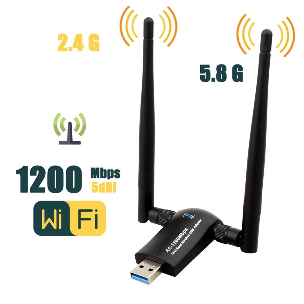Buy USB 3.0 Dual Band Wifi Adapter 2*5dBi High Gain Antennas For Laptop  2.4GHz+5.8GHz AC-1200Mbps at affordable prices — free shipping, real  reviews with photos — Joom