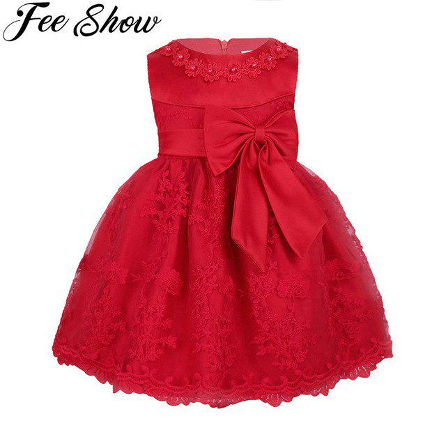 Toddler Infant Baby Girls Princess Mini Dresses Short Sleeve Sweet Lace Flower Bowknot A-Line Tulle Dress Bridesmaid Pageant Birthday Party Wedding Dress For 6-24 Months Baby