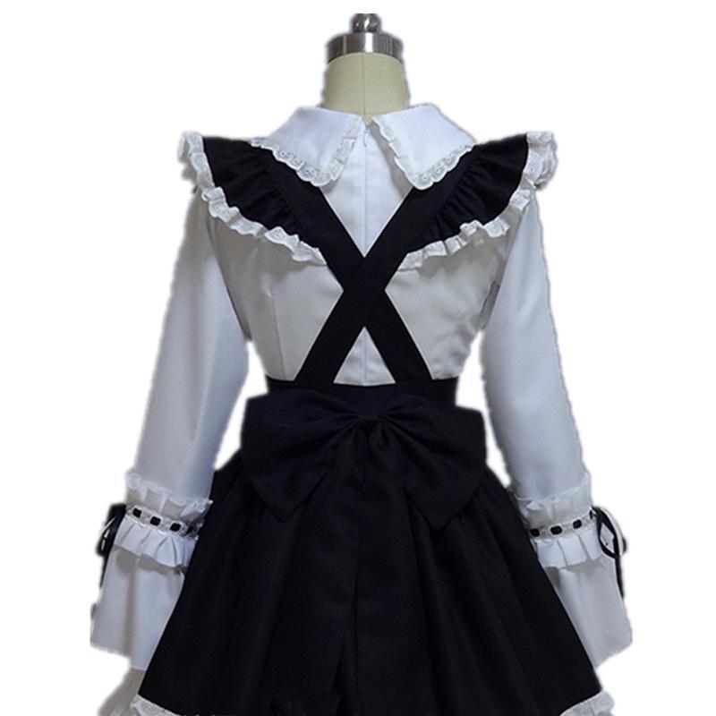 Girls Costumes Waitress Ruffle Lolita Gothic Cosplay Maid Fancy Dress Sweet Cute