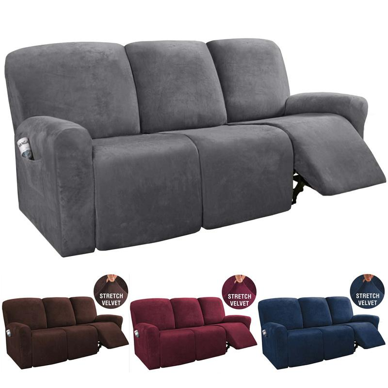 8pcs Recliner Sofa Covers Velvet, Reclining Sofa Bed Couch