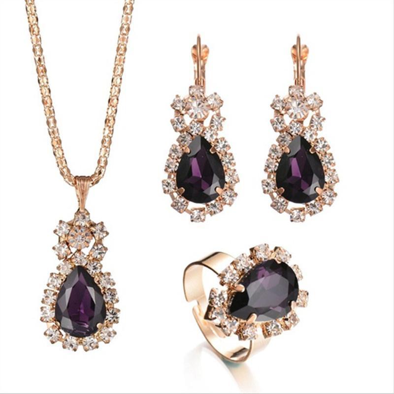 Мода романтический шарм элегантный цепи ожерелье серьги кольца женщин комплект ювелирных изделий фото
