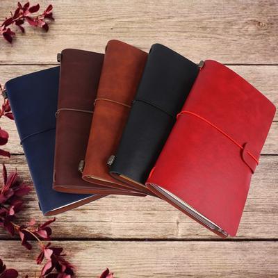 710c352b1dcf42 5 kolorów Classic PU Leather Travel Notebook Spersonalizowany Dziennik  Pamiętnik Refillable Notepad