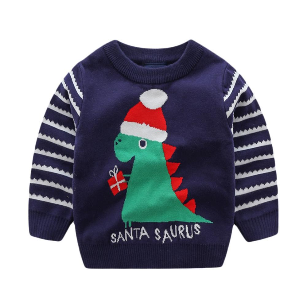 Christmas Kids Boys Sweater Cotton Dinosaur Jacquard Knit Autumn Winter Sweater