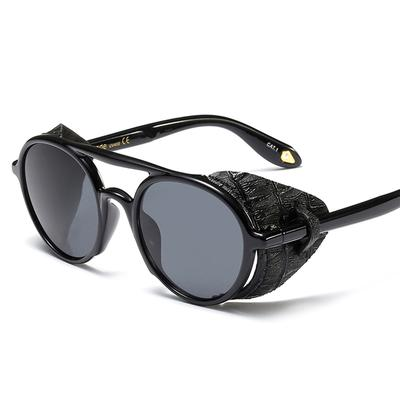 c9bdc393777871 Steampunk Men Sunglasses with Side Shields Leather Round Sun Glasses for  Women Retro