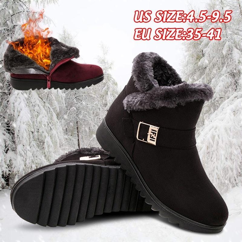 Зимние женщины Мода Теплый Снег Сапоги Мать Обувь водонепроницаемый анти-скользящий лодыжки сапоги короткие сапоги – купить по низким ценам в интернет-магазине Joom