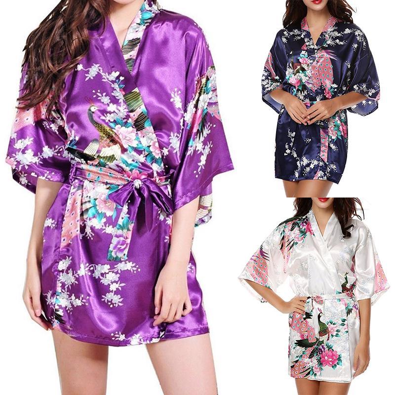 Kimono corto satén seda Bata Bata novia dama de honor dormir ...