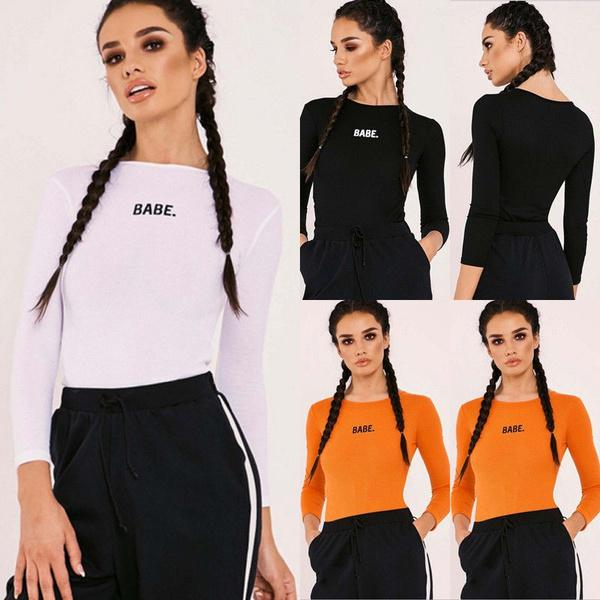 af07e1a846 2018 Sexy Slim Womens Long Sleeve Shirt Jumpsuit Bodysuit Stretch Leotard  Tops Blouse T Shirts-buy at a low prices on Joom e-commerce platform