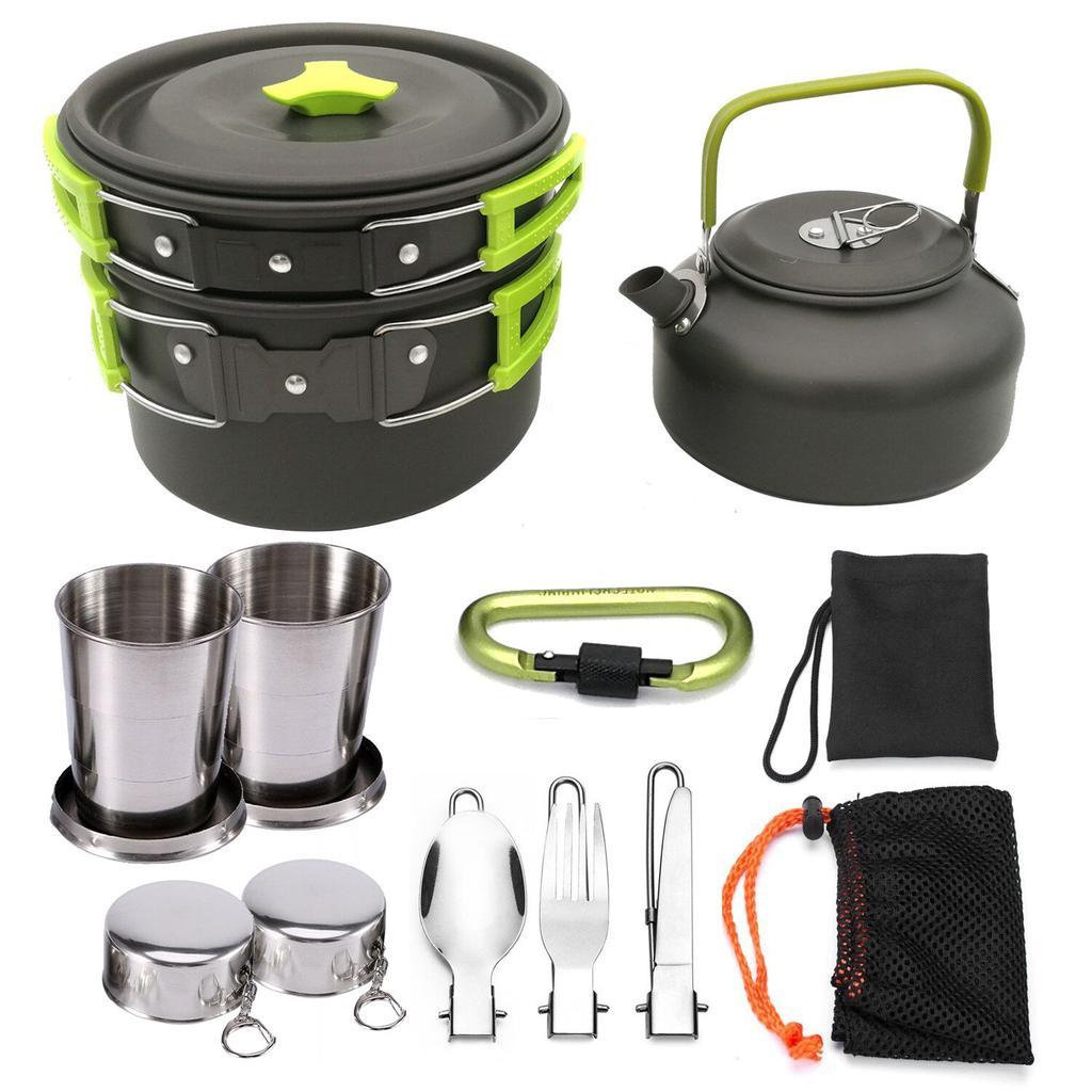 3pcs Aluminum Alloy Combination Pot Pan Teapot Camping Cookware Set Non Stick