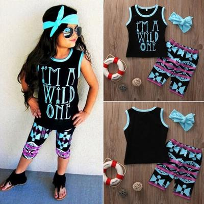 Toddler Little Girls Outfit Eyelashes Tank Top+Shorts+Headband Clothes Set 1-6T