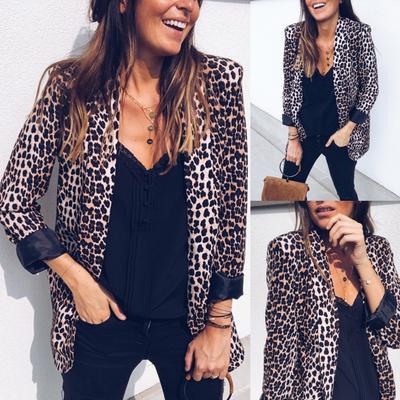 Fashion Womens Print Suit Autumn Winter Long Sleeve Coat Fashion Business Suits
