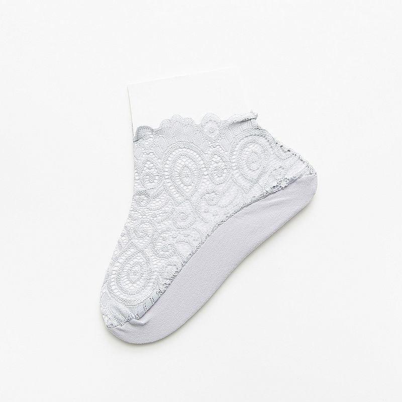 Damas de Encaje Invisible Calcetines Footsie Liner Barco Calcetines Antideslizante de Silicona 4//7