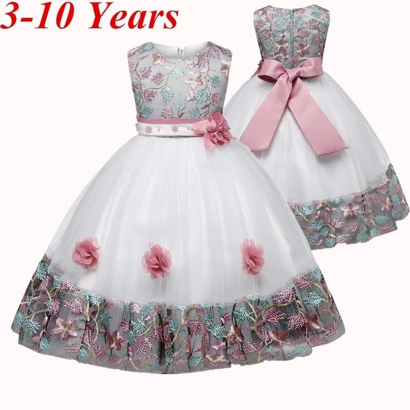 Baby Toddler Girls Wedding Party Dress Clothes 3-9 Years Old Kids Child Flower Sequins Sleeveless Formal Dress