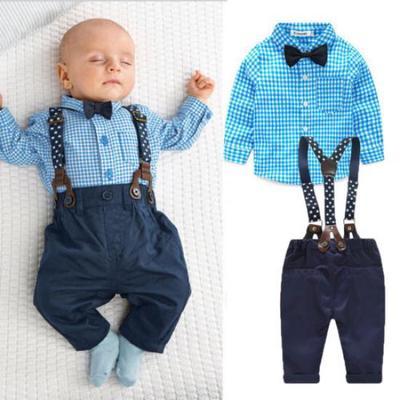 Mini Shatsu Little Boys Red Bowtie /& Suspender Button Down Shirt