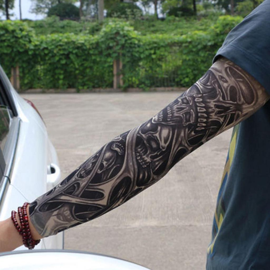 Unisex Rozciągliwa Ochrona Uv Jazda Na Rowerze Outdoor Fake Slip On Tattoo Arm Sleeve