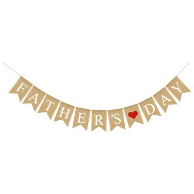 1 Pc Happy Fathers/' Day Banner Decorative Pull Flag Photo Prop for Banquet Party