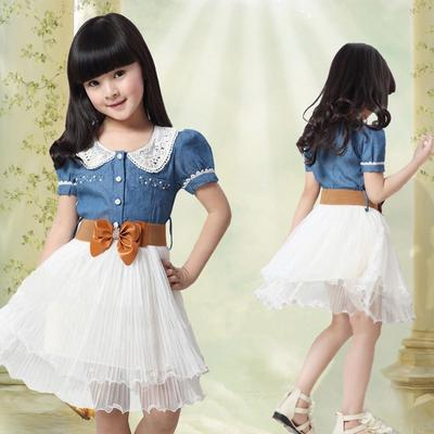 UK Kid Baby Girls Lace Cartoon White Pleat Pageant Dress Party Sundress Clothes