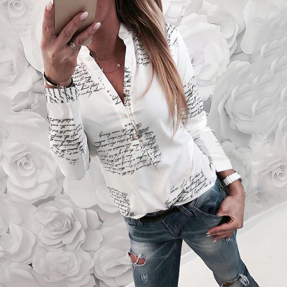 Fashion Women V Neck Button Letter Printing Half Sleeve T-Shirt Tops Blouse