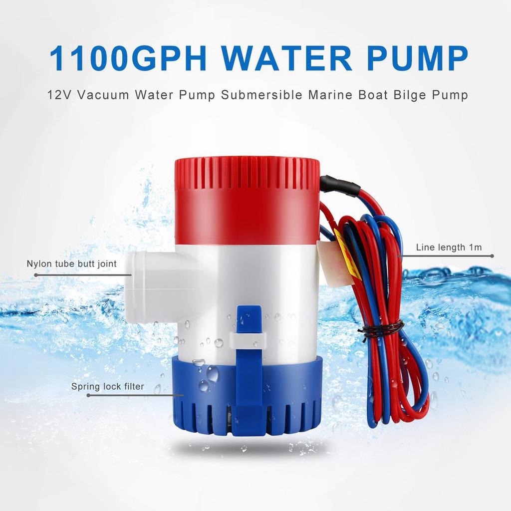 "Submersible Marine Boat Bilge Pump 1-1//8/"" with Float Switch 1100GPH 12V Blue New"