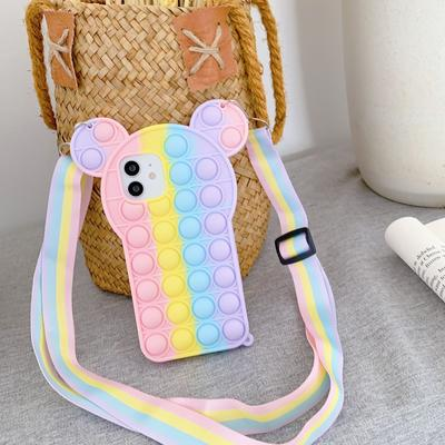 3D Mickey Ear Rainbow Bubble Bean Messenger Phone Case for Samsung Galaxy S9 S10 S20 Note20 Ultra Protective Case