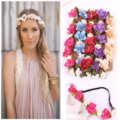1Pcs Fashion Wedding Wreath Crown Flower Headdress Headband Hairband Handmade