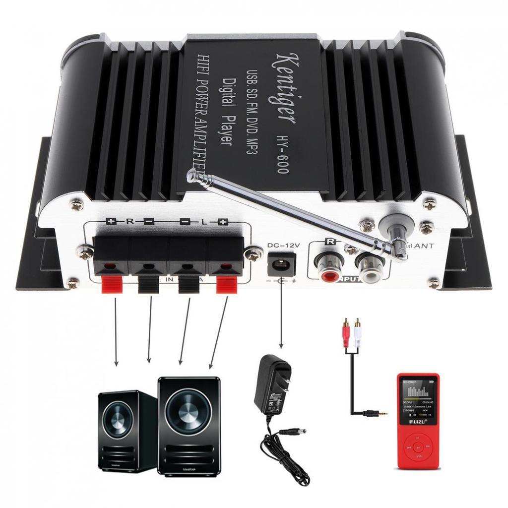 Hy 600 2ch Hi Fi Car Audio Power Amplifier Fm Radio Usb Mp3 Stereo Speakeraudio Output Indicator Circuit For 1 Of 11