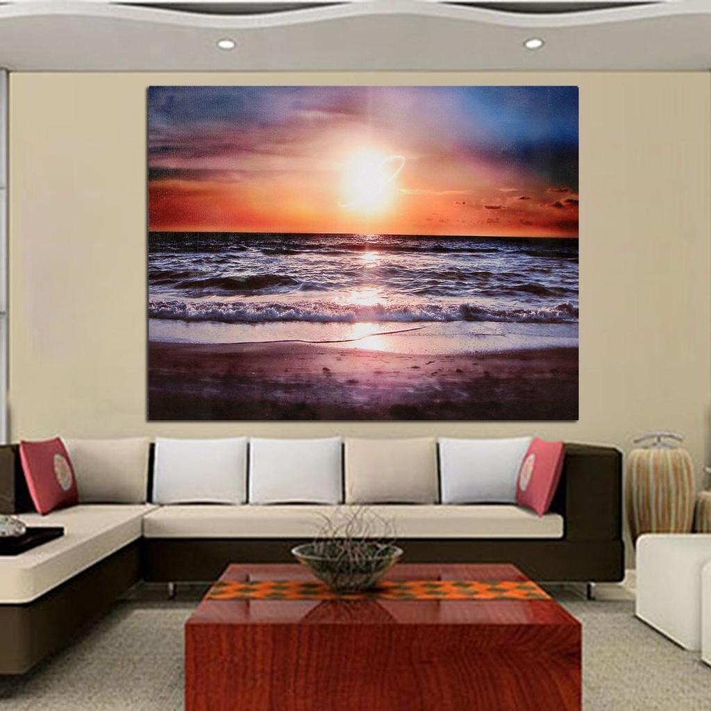 Paisaje playa atardecer Casa Decor lona impresión pared arte cuadro ...