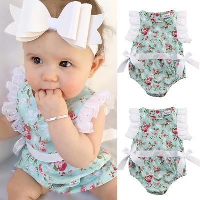 Princess Baby Girl Clothes Lace Floral Romper Bodysuit Outfits One-pieces 0-24M