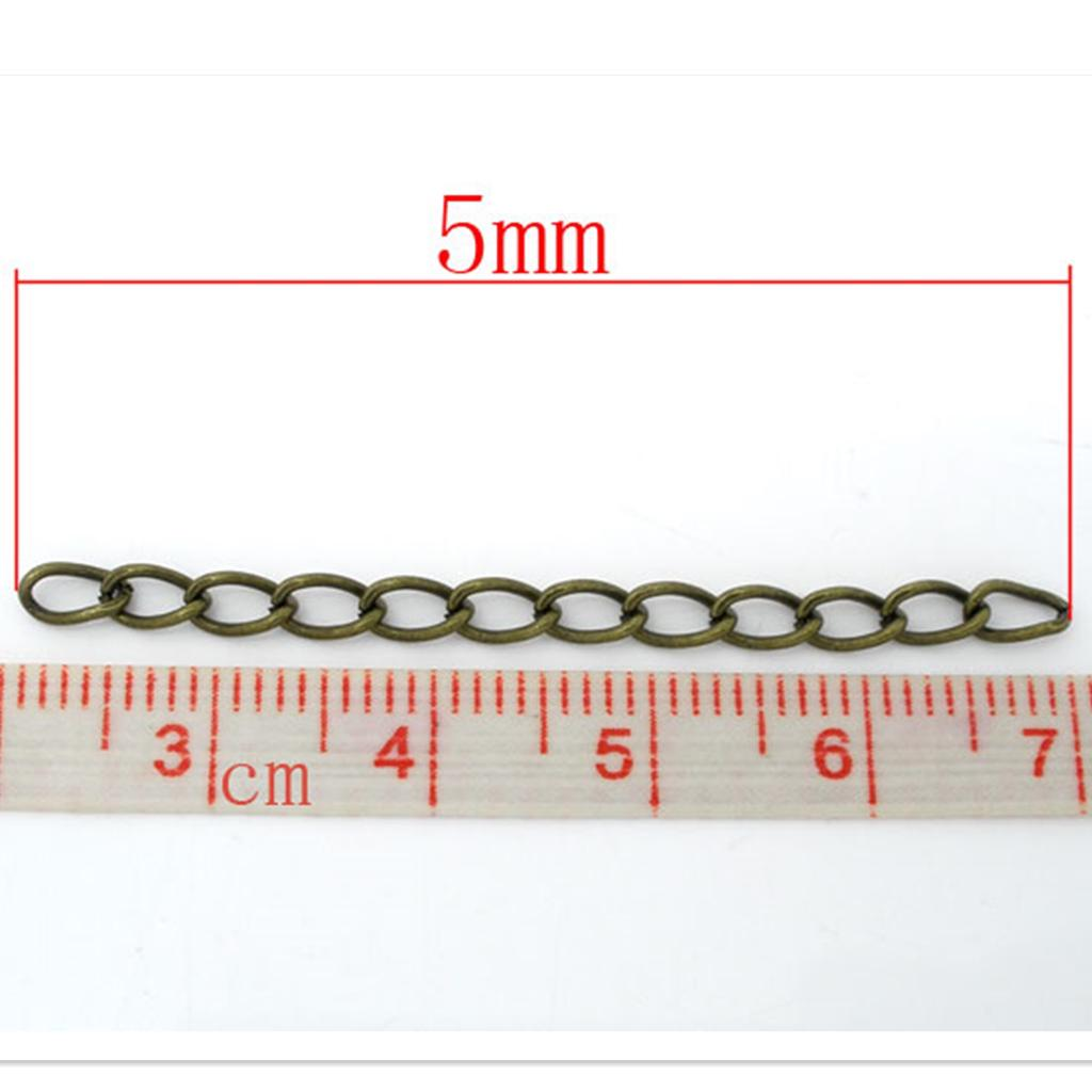 100 Silver Tone Extension Chains//Tail Extender 50x3mm