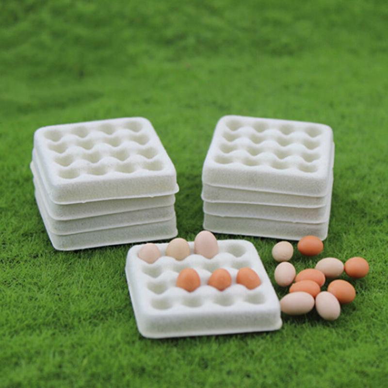 5 Pcs Dollhouse toy model miniature food playing mini empty egg tray