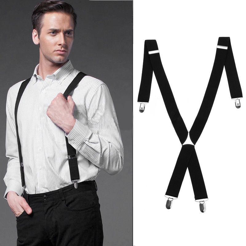 Mens Braces 35mm Wide Strong Metal Clip Adjustable Elastic Suspenders Black